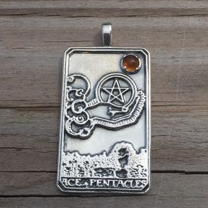 Ace of Pentacles Pendant Sterling Silver w/ Amber Boutique
